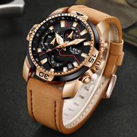 【LIGE】 2020 メンズ腕時計 クロノグラフ 防水 クォーツ 日付表示 レザーベルト ミリタリー 発光 ルミナスハンズ 海外トップブランド 選べる4色