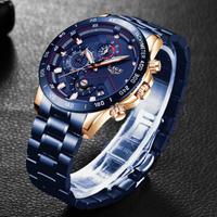 LIGE 腕時計 メンズ 防水 クロノグラフ 日付表示 ステンレスベルト 日本製クォーツ 海外トップブランド 選べる4色