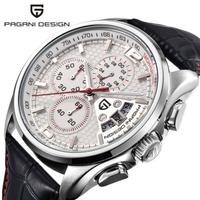 PAGANI DESIGN メンズ腕時計 クロノグラフ 3気圧防水 クォーツ 日付表示 レザーベルト パガーニデザイン おしゃれ 選べる2色