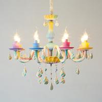 シャンデリア キャンディーカラー カラフル 子供部屋 かわいい クリスタル LED 8ライト