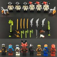 レゴ互換 ニンジャゴー ミニフィグ+武器セット 剣 斧 猿 Ninjago キャラクター LEGO風 ブロックセット