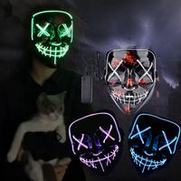 光るマスク ハロウィン LEDマスク ハロウィン仮面 コントローラー付き 変装 仮装 コスプレ クリスマス パーティー イベント 学園祭 選べる9色