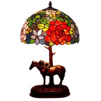 テーブルランプ ステンドグラス 薔薇 馬 手作り カラフル ベッドサイドランプ バラ 花 木 人気 おすすめ 輸入 海外 50×30cm