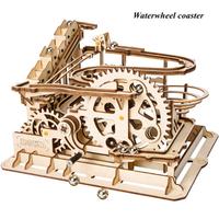Robotime コースター 水車 3D立体パズル 木製 組み立て キット 玉転がし 歯車 スロープ 自作 電池不要 プレゼントにも