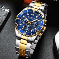 MEGALITH クロノグラフ 腕時計 メンズ 防水 クォーツ ステンレスベルト 男性 海外トップブランド 3色から選択可能