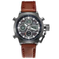 AMST 腕時計 メンズ 5気圧防水 多機能 スタイリッシュ おしゃれ クォーツ 高耐久性 レザーベルト ステンレス LED バックライト 曜日 日付表示 海外高級ブランド 5色