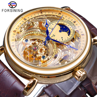 【海外高級ブランド】 FORSINING スケルトン 本革ベルト 防水 メンズ腕時計 自動巻き 機械式 ルミナスハンズ 渋い 【選べる2色】