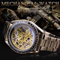 【渋すぎる】 T-WINNER 自動巻き 機械式 スケルトン レトロ スチームパンク メンズ腕時計 防水 ステンレス製 ルミナスハンズ 海外トップブランド
