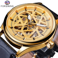 【FORSINING】 手巻き スケルトン メンズ腕時計 機械式 レザーベルト 芸術的 ルミナスハンズ 発光 海外トップブランド 高級 個性 ゴールド