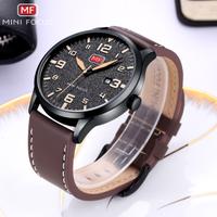 MINIFOCUS メンズ腕時計 薄い 防水 本革ベルト 日付表示 光る クォーツ 海外高級ブランド 人気 選べる4色