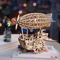 【LK702】 ROBOTIME 飛行船 ウッドパズル 3D 木製 組み立てキット DIY 自作 乗り物 組み立て簡単 【かっこいい】