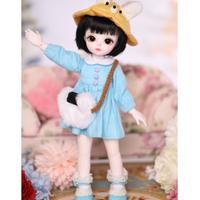 球体関節人形 BJD 服+帽子+バッグ カスタムドール 衣装 人形用 子供 幼稚園 ハット 鞄 もこもこ 1/3 1/4 1/6 選べる3サイズ