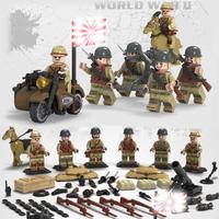 レゴ互換 第二次世界大戦 旧日本軍 特殊部隊 ミニフィグ 兵士 6体 武器 バイク 馬