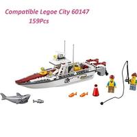 レゴ互換 ボート 釣り サメ フィッシングボート 60147 シティ 乗り物 ミニフィグ付き ブロックセット LEGO風 知育玩具