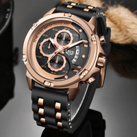 【LIGE】 2020 メンズ腕時計 クロノグラフ 3気圧防水 クォーツ シリコンベルト 日付表示 発光 ルミナスハンズ 人気 海外トップブランド 4色から選択可能
