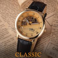 【2014】 T-WINNER レトロ クラシック 手巻き スケルトン メンズ腕時計 機械式 高級 ラグジュアリーウォッチ ゴールド 【海外トップブランド】