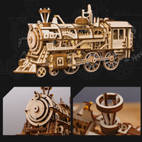 Robud 蒸気機関車 組立キット 木製 機械式 自作 手作り 電池不要 工作 DIY 人気 グッズ おもちゃ 組み立て簡単
