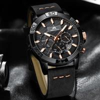 【スタイリッシュ】 MEGALITH 高級 メンズ腕時計 クロノグラフ レザーバンド 防水 クォーツ 日付表示 暗所で針が発光 ごつい ワイルド 【3色】