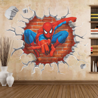 壁から飛び出すスパイダーマン 壁紙 3Dウォールステッカー シール 防水 子供部屋 キッズルーム リビング 45cm×50cm かっこいい★