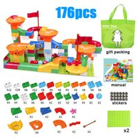 Kitoz レゴ互換 スロープ 玉転がし 迷路 楽しみながら脳を刺激 ブロックセット 知育玩具 組み立て DIY 知育におすすめ 176ピース