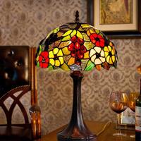 テーブルランプ ステンドグラス 花柄 高級 ベッドサイドランプ エレガント カラフル アンティーク ヴィンテージ 手作り ベッドルーム リビング 業務用ナイトライト 30×48cm