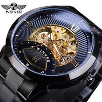 【2019】 T-WINNER 高級 メンズ 自動巻き 機械式 スケルトン腕時計 ステンレスベルト ルミナスハンズ ビジネス 【選べる3色】