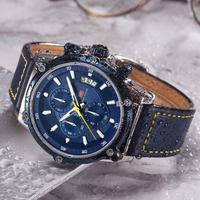 【MINIFOCUS】 時計 メンズ クロノグラフ 防水 本革ベルト クォーツ ルミナスハンズ 発光 日付表示 高級 海外ブランド ラグジュアリー かっこいい 3色あり