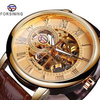 【FORSINING】 スケルトン 機械式 メンズ腕時計 手巻き レザーベルト 海外トップブランド 紳士的でかっこいい★ 選べる3色