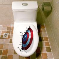 【キャプテンアメリカ】 シールド 3Dステッカー 盾 トイレ 壁シール ポスター 【楽しく装飾できる】