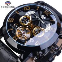 FORSINING メンズ腕時計 機械式 自動巻き 本革ベルト 日付 曜日表示 ビジネス 海外トップブランド 選べる3色