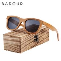 【人気の天然竹製】 BARCUR ユニセックス バンブー 偏光サングラス 木製ボックス付き UV400 運転用 ポラロイド BC8201 自然のぬくもり 【選べる3色】