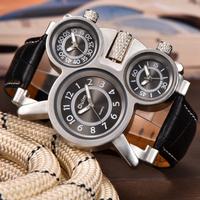 Oulm メンズ腕時計 3つの文字盤 ごつい 大きい トリプルタイム 個性的 クォーツ 革ベルト レザー ヴィンテージ スチームパンク ユニーク 選べる3色