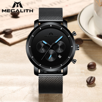 【海外ブランド】 MEGALITH シンプル 高級 メンズ腕時計 ステンレスメッシュベルト 防水 日付表示 クォーツ スタイリッシュ 【ブラック】