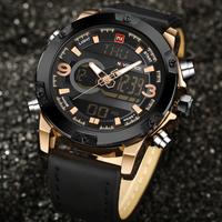 NAVIFORCE 海外高級ブランド ミリタリーウォッチ メンズ腕時計 クォーツ アラーム クロノグラフ 防水 3気圧 発光 デュアルタイム 日付 曜日表示 レザーバンド