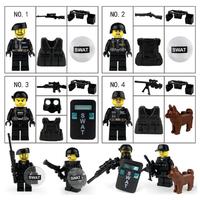 レゴ特殊部隊 SWAT レゴ互換品 警察犬 銃 盾 犬 兵士 兵隊 軍隊 ミリタリー 戦闘 LEGO風  ブロックセット ミニフィグ4体+装備