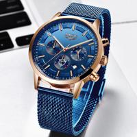 LIGE メンズ腕時計 防水 日付表示 メッシュベルト 光る 薄い クォーツ 海外トップブランド 人気 選べる3色