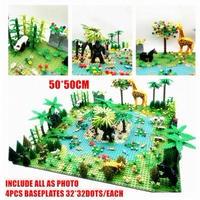 【レゴ互換】熱帯雨林セット 動物+川+木 50×50cm ジャングル【LEGO風】