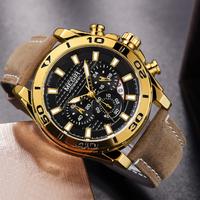 【2019】 MEGIR クロノグラフ レザーバンド 防水 メンズ腕時計 日付表示 ルミナスハンズ 海外トップブランド 渋い 【選べる3色】