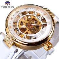 FORSINING レディース腕時計 スケルトン 自動巻き 機械式 本革ベルト 防水 発光 海外トップブランド 選べる3色