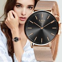 【2020】LIGE レディース腕時計 クォーツ 防水 メッシュベルト 薄い シンプル 発光 ルミナスハンズ ビジネス ステンレス 海外トップブランド 選べる3色