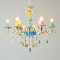 シャンデリア カラフル キャンディーカラー 子供部屋 かわいい クリスタル LED 6ライト