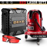 DEKO レーザー墨出し器 セット 赤 5ライン 6ポイント 360度 水平 垂直 レッド スタンダードセット 人気 おすすめ 高性能★
