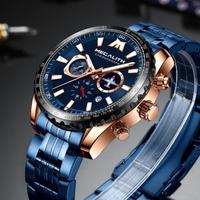 【海外トップブランド】 MEGALITH フルステンレス メンズ腕時計 クロノグラフ 防水 クォーツ 日付表示 時計 ミリタリー ラグジュアリー 【選べる3色】