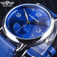 【爽やかな青】 T-WINNER 高級腕時計 手巻き メンズ 海外トップブランド 機械式 ラグジュアリー 本革バンド 防水 【シンプル】
