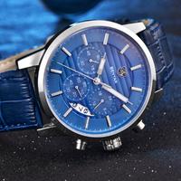 【BENYAR】 クロノグラフ メンズ腕時計 3気圧防水 本革ベルト クォーツ 日付表示 ビジネス 海外高級ブランド 選べる2色