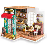 【ドールハウス】 ROBOTIME サイモンのカフェ コーヒー DG109 立体パズル 木製 ミニチュア 3D 喫茶店 組み立てキット DIY 自作 【入手困難】
