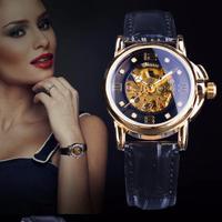 【T-WINNER】 レディース腕時計 スケルトン 自動巻き 機械式 レザーバンド 発光 ルミナスハンズ ラグジュアリー 海外トップブランド ブラック ゴールド