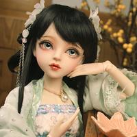 【黒髪の美女】 BJD 球体関節人形 60cm 1/3 フルセット 中国人形 本体+眼球+ウィッグ+服+靴 メイクアップ済み カスタムドール 【神秘的で美しい】