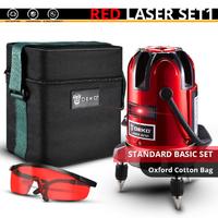 DEKO レーザー墨出し器セット 赤 抜群のコスパ 5ライン 6ポイント 360度 水平 垂直 レッド 人気 おすすめ 高性能 オックスフォード製の便利な箱付き★