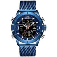 NAVIFORCE メンズ腕時計 ミリタリー スポーツ 海外高級ブランド クォーツ デュアルタイム アラーム クロノグラフ 防水 3気圧 発光 日付 曜日表示 ステンレスベルト